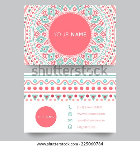 Business card template, blue, white and pink beauty fashion pattern vector design editable trible. Vector illustration for modern design. Beautiful ornate pattern. - stock vector