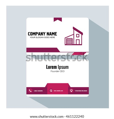 business card template. building icon