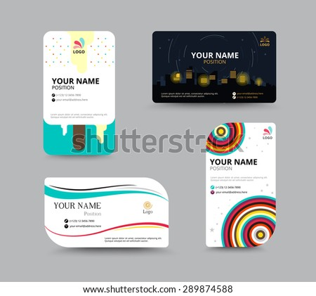 Business card template, business card layout design, vector illustration - stock vector