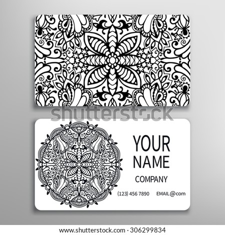 Business card template, decorative Mandala ornament invitation collection. Hand drawn Islam, Arabic, Indian motif, lace pattern - stock vector