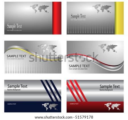business card template design silver metallic with world map theme - vector. - stock vector