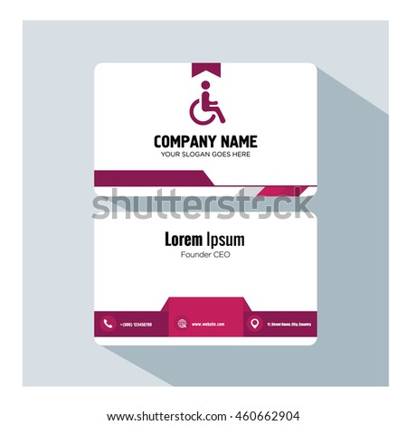 business card template. disabled icon