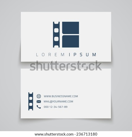 Business card template. Film strip conceptual logo. Vector illustration - stock vector