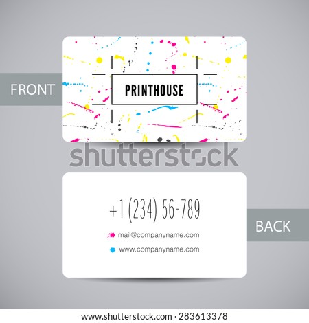 Business card template for printery with ink splashes elements. Vector card with CMYK color stains and blots for printing house branding and other design concepts - stock vector