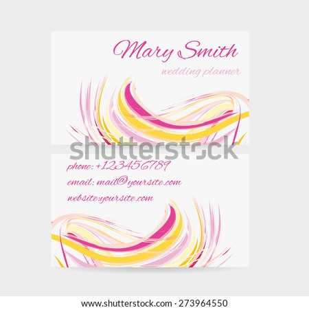 Business card template - front and back side.Pink and yellow abstract wave design. - stock vector