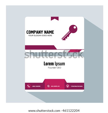business card template. key icon