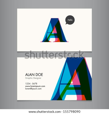 Business card template, letter A - stock vector