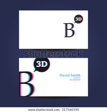 Business card template letter b 3 d stock vector 317560190 business card template letter b 3d cheaphphosting Gallery