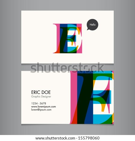 Business card template, letter E - stock vector