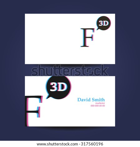 Business Card Template Letter F D Stock Vector - 3d business card template