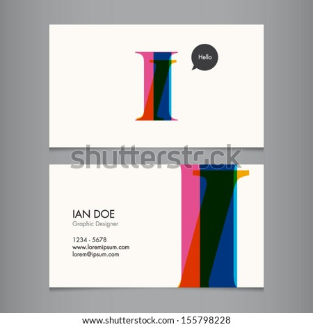 Business card template, letter I - stock vector