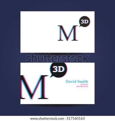 Business card template letter m 3d stock vector 317560163 shutterstock business card template letter m 3d cheaphphosting Images