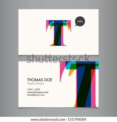 Business card template, letter T - stock vector