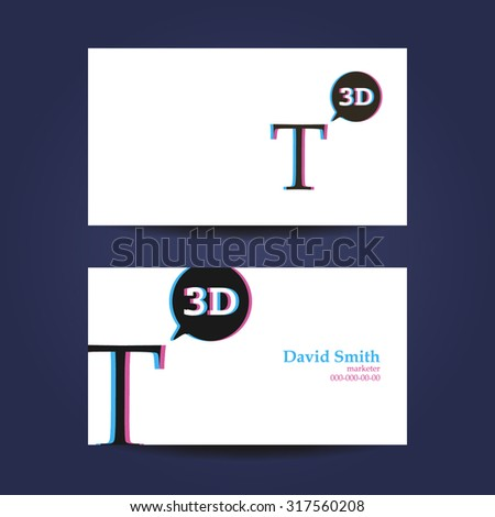 Business card template, letter T 3d