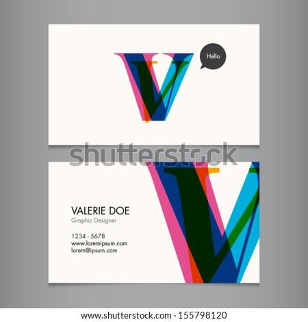 Business card template, letter V - stock vector