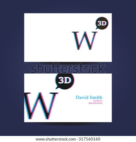 Business card template letter w 3 d stock vector 317560160 business card template letter w 3d fbccfo Choice Image