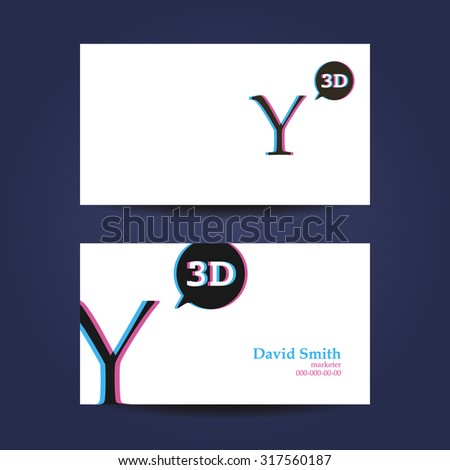 Business card template, letter Y 3d