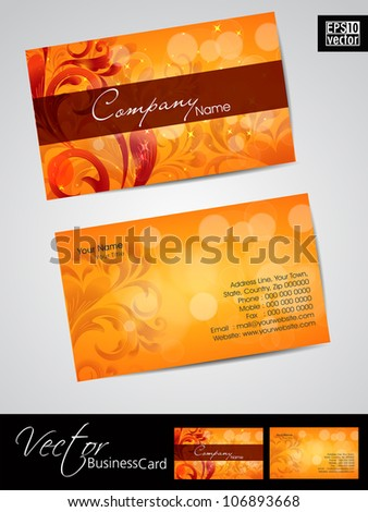 Business card template or visiting card set with elegant floral designs. EPS 10. Vector illustration. - stock vector