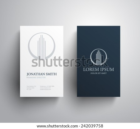 Business card template real estate, apartment, condo, house, rental, business. brand, branding, logotype, company, corporate, identity. Clean, modern and elegant  style design - stock vector