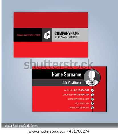 Doublesided red business card template vector stock vector for Red business card template