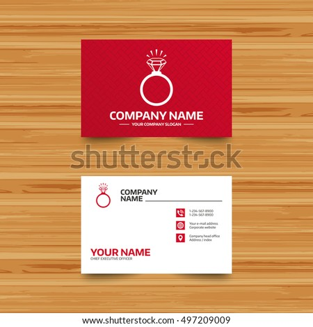 Business card template ring sign icon stock vector hd royalty free business card template ring sign icon jewelry with shine diamond symbol wedding or flashek Image collections
