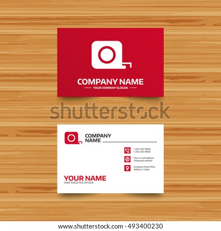 Business card template roulette construction sign stock vector business card template roulette construction sign icon tape measure symbol phone globe colourmoves