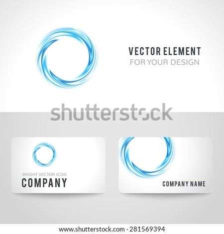 Business card template set, abstract blue circle on white background. Vector illustration for modern design. Corporate identity for the company. Cool logo element. - stock vector