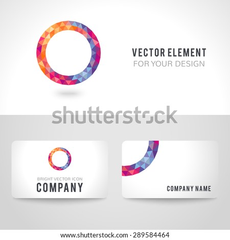 Business card template set. Bright picture round frame in modern polygonal crystal style on white background. Vector illustration colorful bright design. Triangles. - stock vector