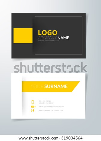 Business card template vector background black and yellow element with space for text and artwork design - stock vector