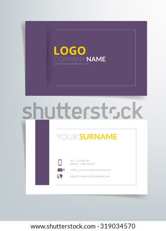 Business Card Template Vector Background Purple And Orange Element With Space For Text Artwork Design