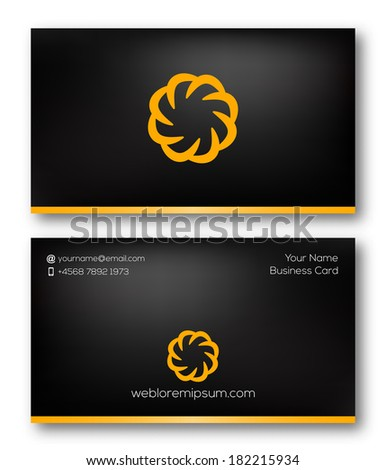 Business card template with abstract icon. Vector design. - stock vector