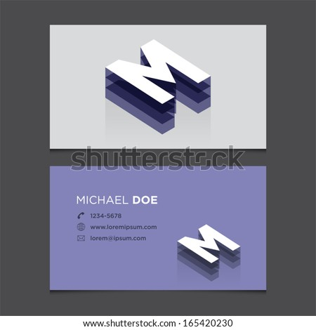 Business card template with alphabet letter M. - stock vector