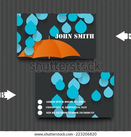Business card template with autumn background. Eps10 Vector illustration - stock vector