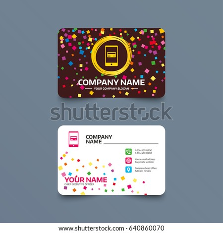 Business Card Template With Confetti Pieces Mobile Payments Icon Smartphone Credit Symbol