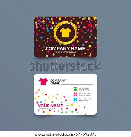 Business card template confetti pieces tshirt stock vector 577692073 business card template with confetti pieces t shirt sign icon clothes symbol colourmoves