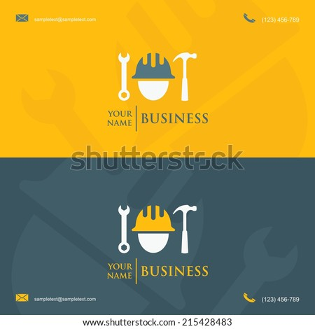 Business card template construction worker symbol stock vector hd business card template with construction worker symbol vector illustration reheart Image collections