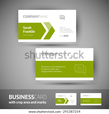 Business card template  with crop area and marks. Elegant vector illustration. - stock vector