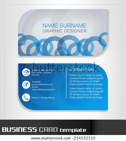 Business card template with front and back side/vector illustration - stock vector