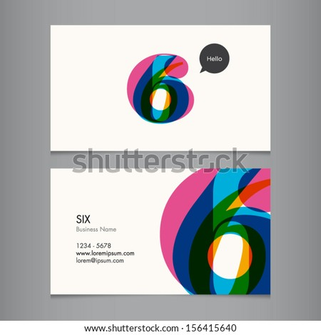 Business card template with number six  - stock vector
