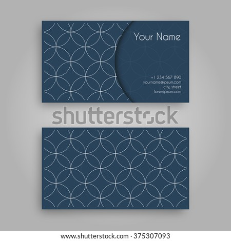 business card template sashiko design vintage stock vector