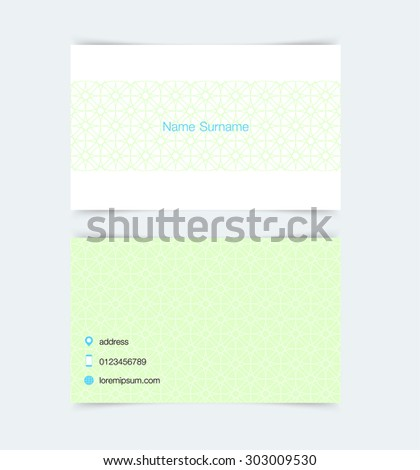 Business card template with simple pattern background. Vector illustration. - stock vector