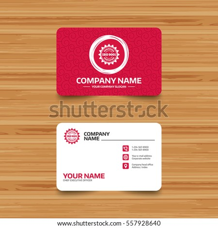 Business card template texture iso 9001 stock vector hd royalty business card template with texture iso 9001 certified sign icon certification star stamp reheart Gallery