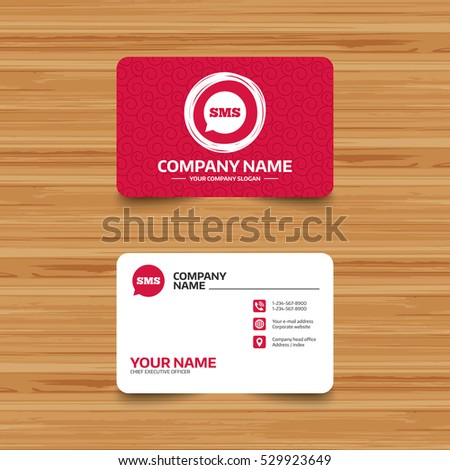 Business card template texture sms speech stock vector 529923649 business card template with texture sms speech bubble icon information message symbol phone colourmoves