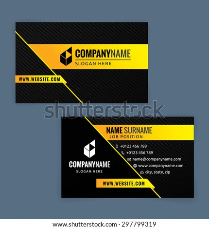 business card template yellow black illustration stock vector