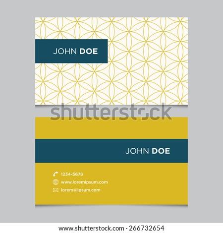 Business card template, yellow pattern vector design editable - stock vector
