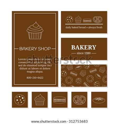 Business card templates bakery shop cafe stock vector hd royalty business card templates for bakery shop or cafe branding elements reheart Gallery