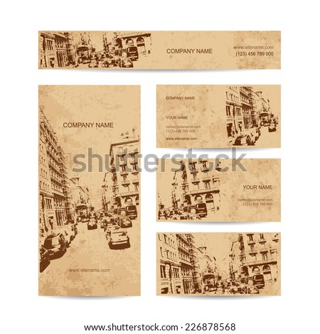 Business card, urban design. Street of Barcelona city - stock vector