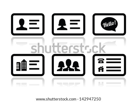 Business card vector icons set - stock vector