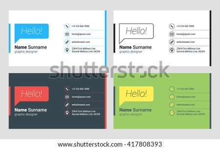 Business card vector template flat style stock vector 417808393 business card vector template flat style vector illustration stationery design 4 color combinations reheart Gallery