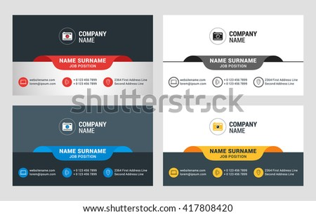 Business Card Vector Template Flat Style Illustration Stationery Design 4 Color Combinations